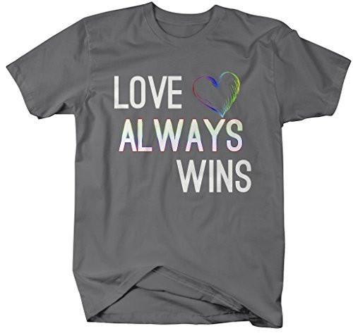 Shirts By Sarah Men's Love Always Wins LGBT Support T-Shirt Rainbow Shirt-Shirts By Sarah