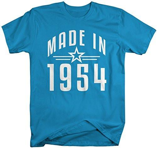 Shirts By Sarah Men's Made In 1954 Birthday T-Shirt Retro Star Custom Shirts-Shirts By Sarah