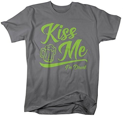 Shirts By Sarah Men's Men's Saint Patrick's Day T-Shirt Funny Kiss Me I'm Drunk-Shirts By Sarah