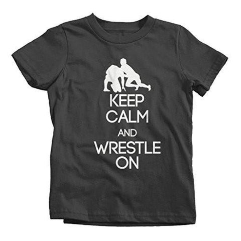 Shirts By Sarah Boy's Keep Calm Wrestle On T-Shirt-Shirts By Sarah