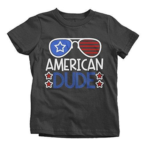 Shirts By Sarah Boy's American Dude 4th July Hipster T-Shirt Glasses Tee Shirts-Shirts By Sarah