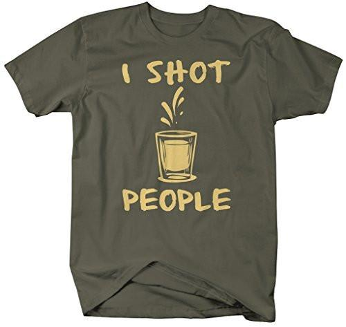 Shirts By Sarah Men's Funny Bartender T-Shirt I Shot People Mixologist Shirts-Shirts By Sarah