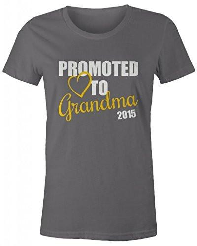 Shirts By Sarah Women's Promoted To Grandma 2015 T-Shirt New Grandparents Baby Reveal-Shirts By Sarah