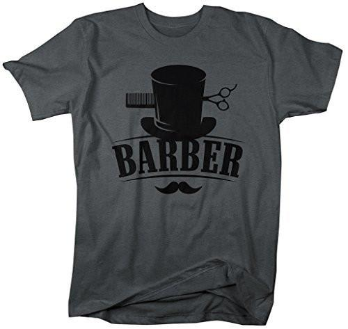 Shirts By Sarah Men's Barber T-Shirt Top Hat Vintage Hipster Mustache Barbers Shirts-Shirts By Sarah