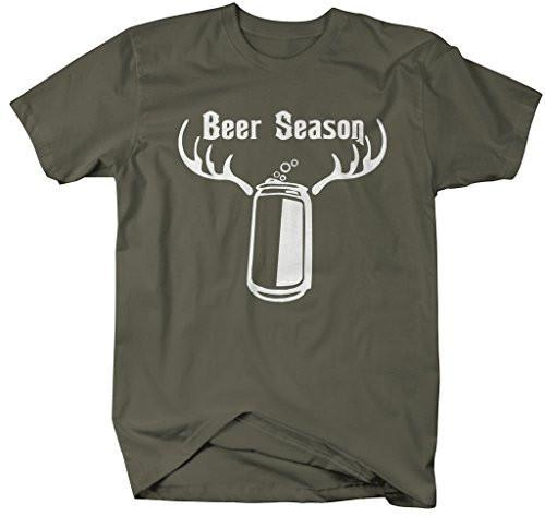 Shirts By Sarah Men's Funny Beer Season Antlers Hunting T-Shirt-Shirts By Sarah