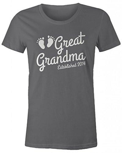 Shirts By Sarah Women's Great Grandma Established 2014 T-Shirt Baby Feet Cute Shirts-Shirts By Sarah