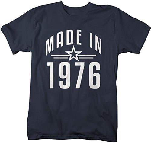 Shirts By Sarah Men's Made In 1976 Birthday T-Shirt Retro Star Custom Shirts-Shirts By Sarah