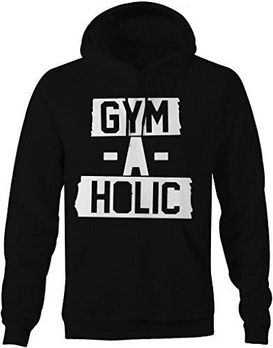 Shirts By Sarah Men's Gym A Holic Workout Hoodie Weight Lifting Pullover-Shirts By Sarah