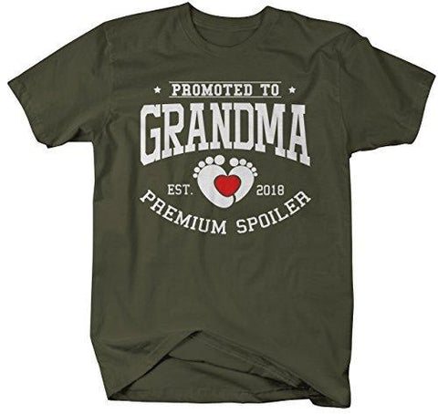 Shirts By Sarah Women's Unisex Promoted to Grandma T-Shirt Premium Spoiler EST. 2018 Shirt-Shirts By Sarah