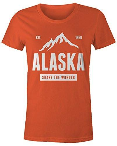 Shirts By Sarah Women's Alaska State Pride T-Shirt Mountains Wonder Tee-Shirts By Sarah
