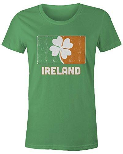 Shirts By Sarah Women's Junior's Ireland St. Patrick's Day Clover Distressed T-Shirt-Shirts By Sarah