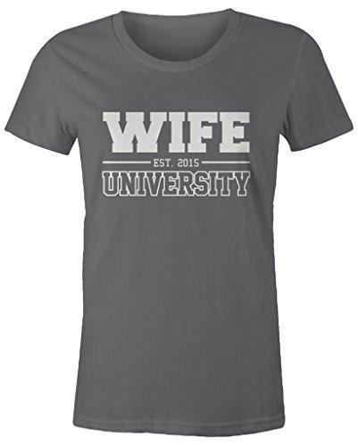 Shirts By Sarah Women's Missy Fit Wife University Est. 2015 T-Shirt Wedding Anniversary Shirts-Shirts By Sarah