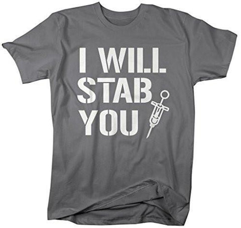 d32f2e436c2a8 Shirts By Sarah Men's Funny Nurses T-Shirt I Will Stab You Shirts For  Nursing