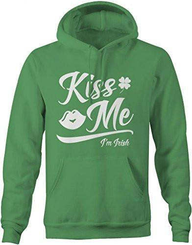 Shirts By Sarah Men's Saint Patrick's Day Hoodie Kiss Me I'm Irish-Shirts By Sarah
