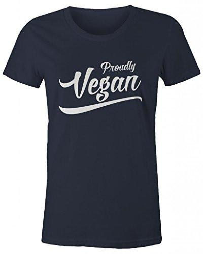 Shirts By Sarah Women's Proudly Vegan T-Shirt, Shirts For Vegans No Meat-Shirts By Sarah