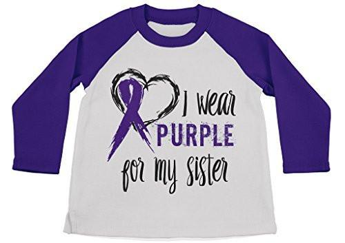 Shirts By Sarah Boy's Wear Purple For Sister Shirt 3/4 Sleeve Purple Awareness Shirts-Shirts By Sarah