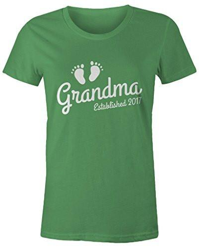 Shirts By Sarah Women's Grandma Established 2017 T-Shirt Baby Feet Cute Shirts-Shirts By Sarah