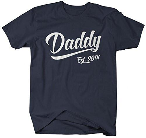 Shirts By Sarah Men's Daddy Est. 2014 T-Shirt Fathers Day Shirts-Shirts By Sarah