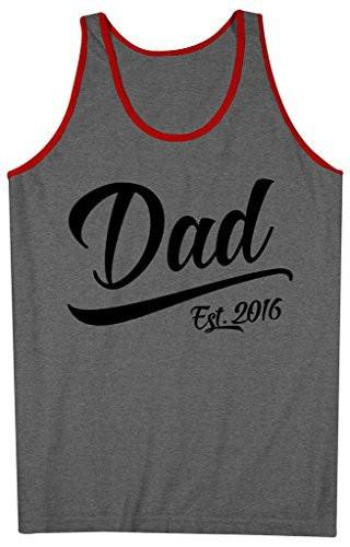 Shirts By Sarah Men's Dad Est. 2016 Tanks Fathers Day Tank Tops-Shirts By Sarah