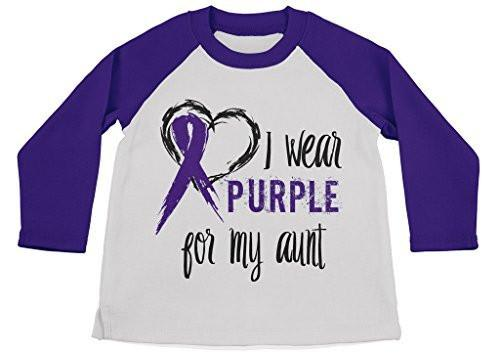 Shirts By Sarah Boy's Wear Purple For Aunt Shirt 3/4 Sleeve Purple Awareness Shirts-Shirts By Sarah
