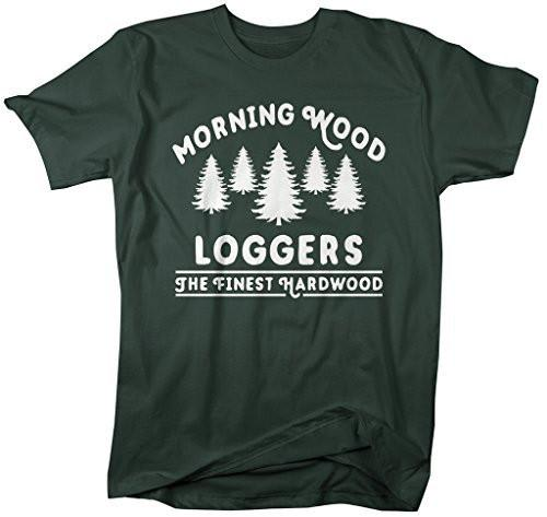 Shirts By Sarah Men's Funny Offensive Lumberjack T-Shirt Morning Wood Loggers Shirt-Shirts By Sarah