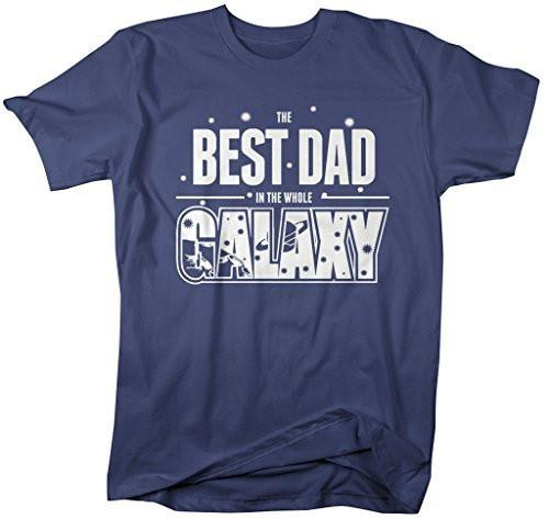 Shirts By Sarah Men's Funny Best Dad In Galaxy Shirt Father's Day Tees Space-Shirts By Sarah