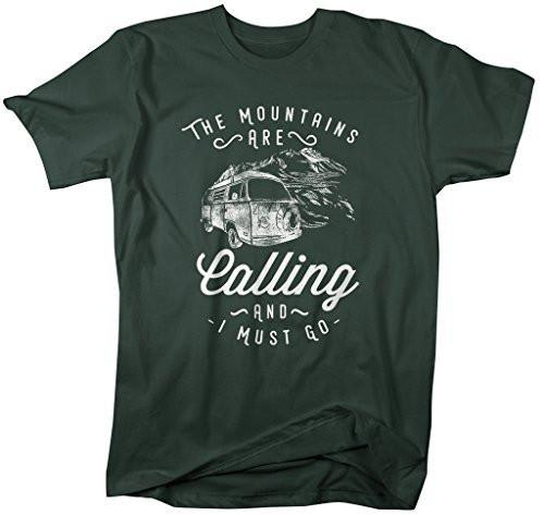 Shirts By Sarah Men's Hipster Mountains Calling T-Shirt Hiking Camping Tee-Shirts By Sarah