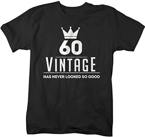 Shirts By Sarah Men's Funny 60th Birthday T-Shirt Vintage Never Looked So Good Shirts-Shirts By Sarah
