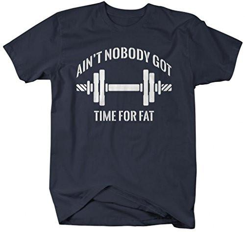 Shirts By Sarah Men's Funny Workout T-Shirt Nobody Got Time For Fat Gym Apparel-Shirts By Sarah