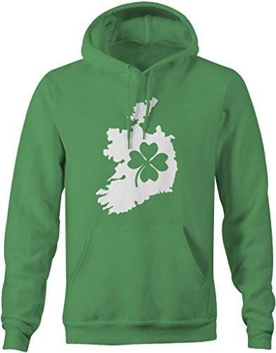 Shirts By Sarah Men's Saint Patrick's Day Hoodie Ireland Clover Irish Pride-Shirts By Sarah