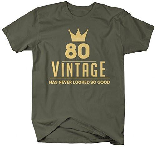 Shirts By Sarah Men's Funny 80th Birthday T-Shirt Vintage Never Looked So Good Shirts-Shirts By Sarah