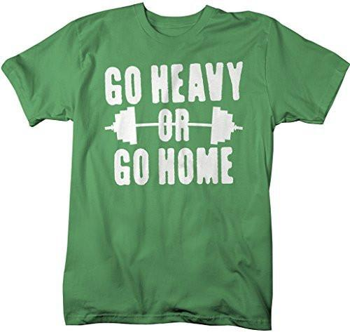 Shirts By Sarah Men's Go Heavy Or Go Home T-Shirt Lifting Shirts-Shirts By Sarah