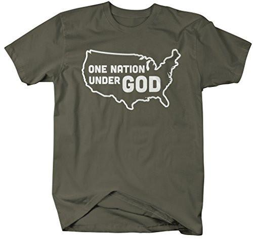 Shirts By Sarah Men's One Nation Under Got T-Shirt USA Christian Pride Shirts-Shirts By Sarah