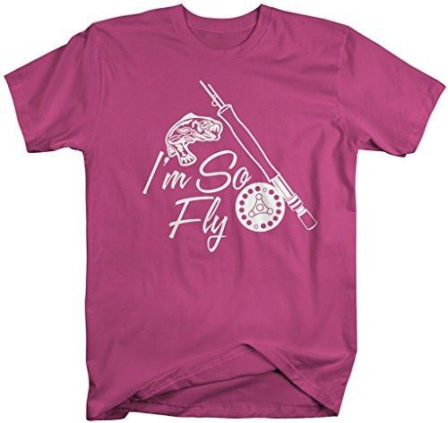 Shirts By Sarah Men's Funny I'm So Fly Fishing T-Shirt Hilarious Fishermen Shirts-Shirts By Sarah