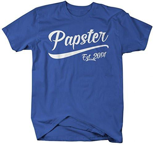 Shirts By Sarah Men's Funny Papster Est. 2014 T-Shirt Father's Day Grandpa Shirts-Shirts By Sarah