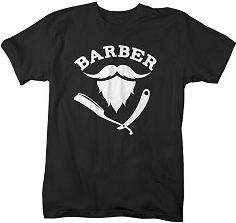 Shirts By Sarah Men's Barber T-Shirt Hair Stylist Mustache Beard Shirts-Shirts By Sarah