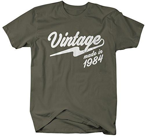 Shirts By Sarah Men's Vintage Made In 1984 T-Shirt Retro Birthday Shirts-Shirts By Sarah