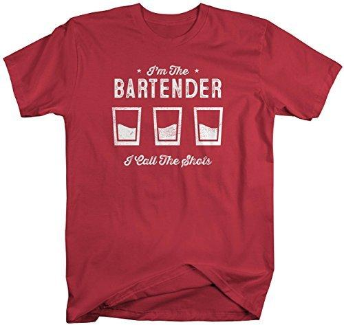 Shirts By Sarah Men's Funny Bartender T-Shirt I Call The Shots Distressed Profession-Shirts By Sarah