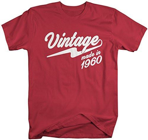 Shirts By Sarah Men's Vintage Made In 1960 T-Shirt Retro Birthday Shirts-Shirts By Sarah