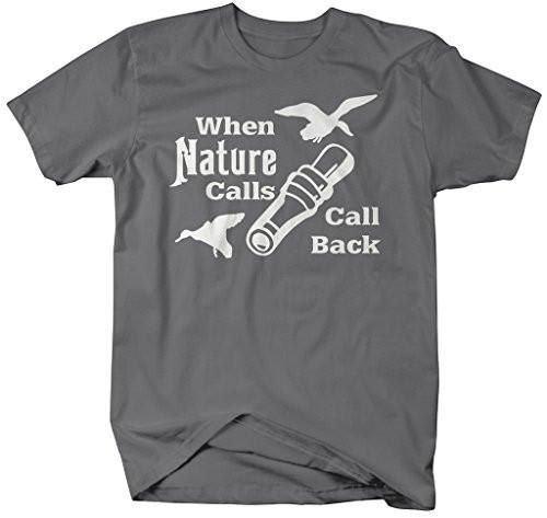 Shirts By Sarah Men's Funny Hunting Shirt When Nature Calls Call Back Hunter T-Shirt-Shirts By Sarah