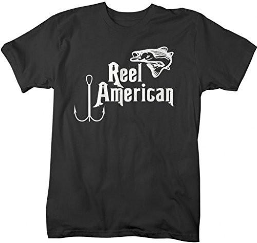 Shirts By Sarah Men's Reel American Fishing T-Shirts Patriotic Shirts For Fishermen-Shirts By Sarah