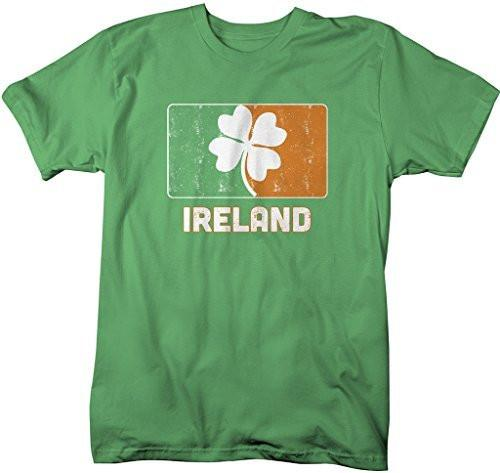 Shirts By Sarah Men's Ireland St. Patrick's Day Clover Distressed T-Shirt-Shirts By Sarah