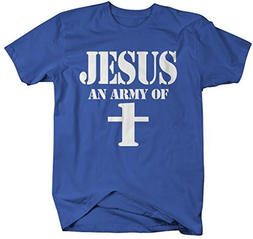 Shirts By Sarah Men's Funny Jesus T-Shirt An Army Of One Christian Shirts Cross-Shirts By Sarah