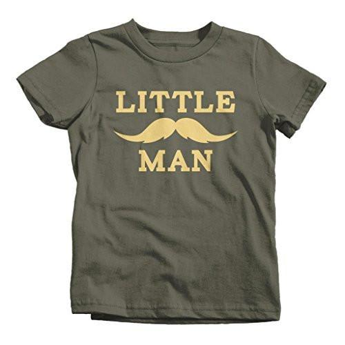 Shirts By Sarah Boy's Matching Father Son Little Man Mustache T-Shirt-Shirts By Sarah