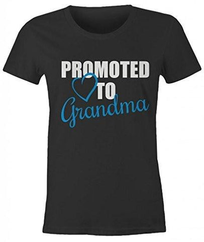 Shirts By Sarah Women's Promoted To Grandma T-Shirt New Grandparents Baby Reveal - Black/Blue / XX-Large - 2