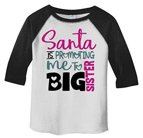 Shirts By Sarah Toddler Santa Promoting Big Sister Christmas T-Shirt Baby Reveal-Shirts By Sarah