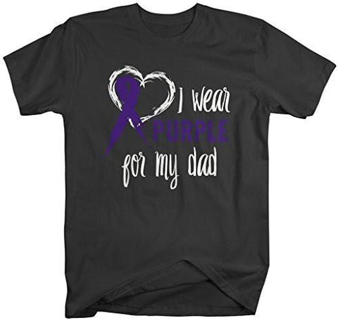Shirts By Sarah Men's Purple Ribbon Shirt Wear For Dad T-Shirt Awareness Support Shirt - Black / XX-Large - 2