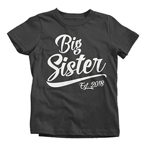 Shirts By Sarah Girl's Big Sister Est. 2018 T-Shirt Sibling Matching Shirts-Shirts By Sarah