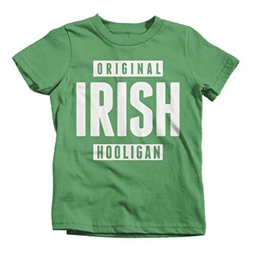 Shirts By Sarah Boy's Funny St. Patrick's Day T-Shirt Original Irish Hooligan Shirts-Shirts By Sarah