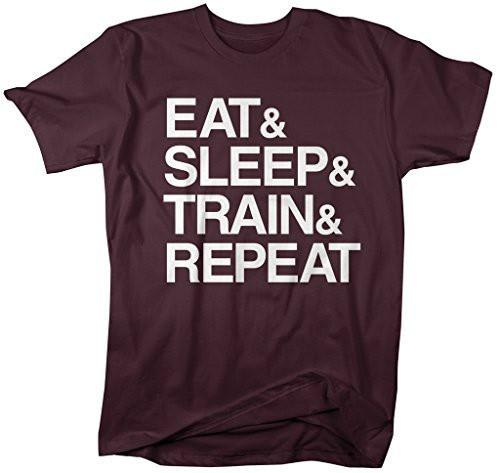 Shirts By Sarah Men's Eat And Sleep And Train And Repeat Workout T-Shirt-Shirts By Sarah